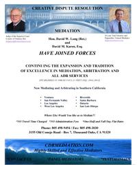 Hon. David Long (Ret.) and David Karen, Esq. have joined forces!